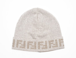 Fendi Zucca Logo Wool White Beanie Cap - $74.25