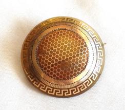 Antique Victorian Pique Pin, Blond Tortoise Inlayed w. Gold - $165.00