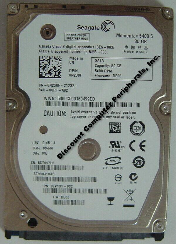 New Seagate ST980310AS 80GB 5400RPM SATA 2.5in 9.5MM Hard Drive Free USA Ship