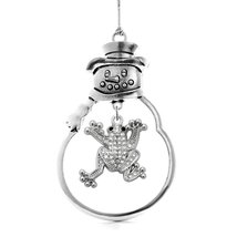 Inspired Silver 1.0 Carat Frog Snowman Holiday Christmas Tree Ornament - $14.69