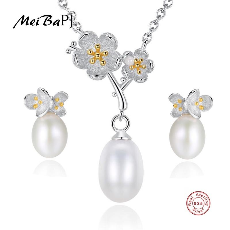 Primary image for [MeiBaPJ] Real 925 Sterling Silver Florall Jewelry Set Natural Pearl Pendant Nec