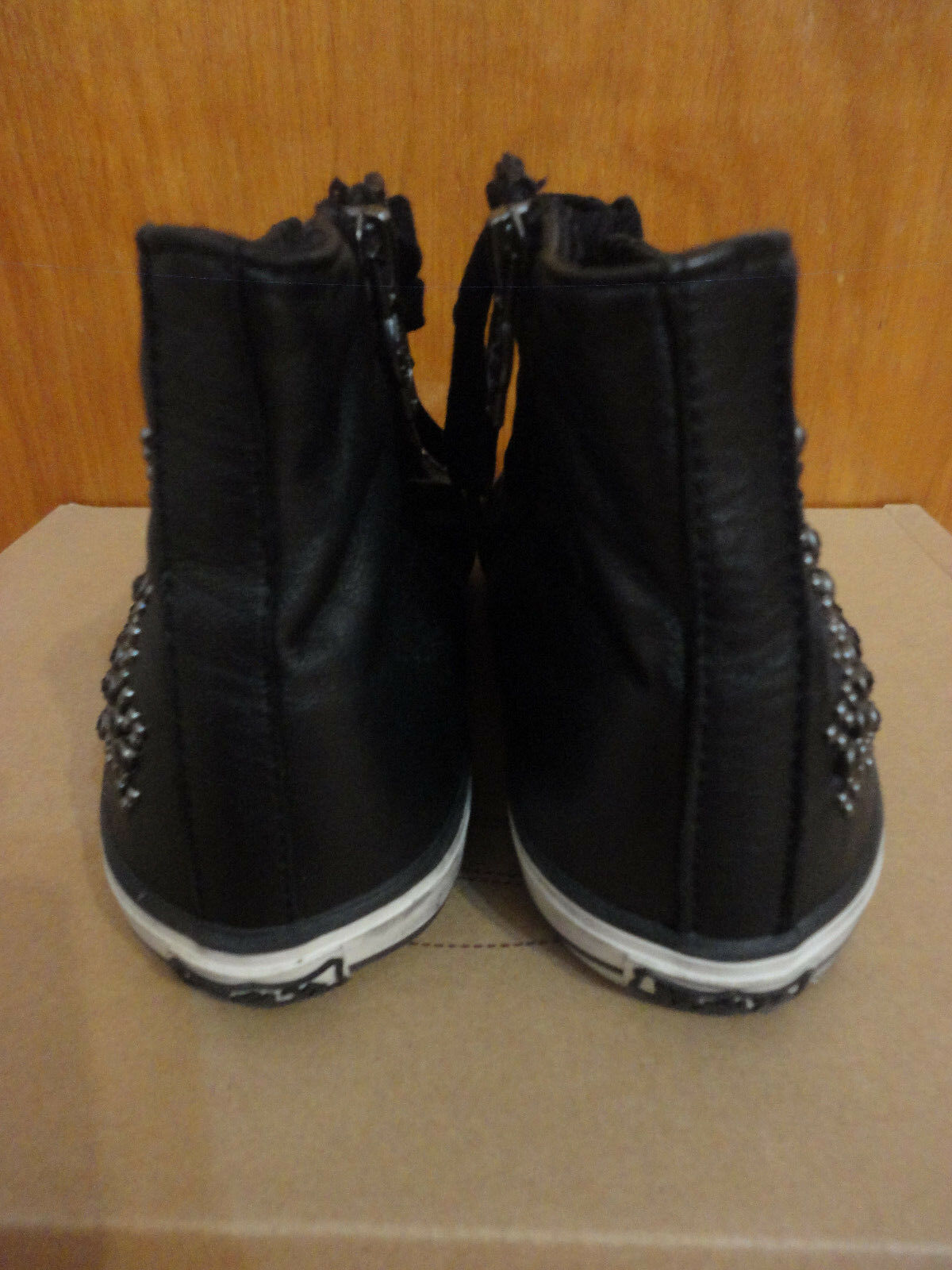 Ash Vibration Star Jewel Studded Black Leather Hi Top Trainer Sneakers 38 8