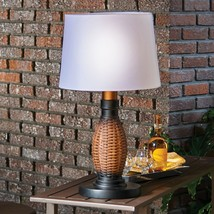 "26"" Faux Wicker Table Lamp + Shade Battery LED 3-Way All Weather Outdoor... - $88.11"