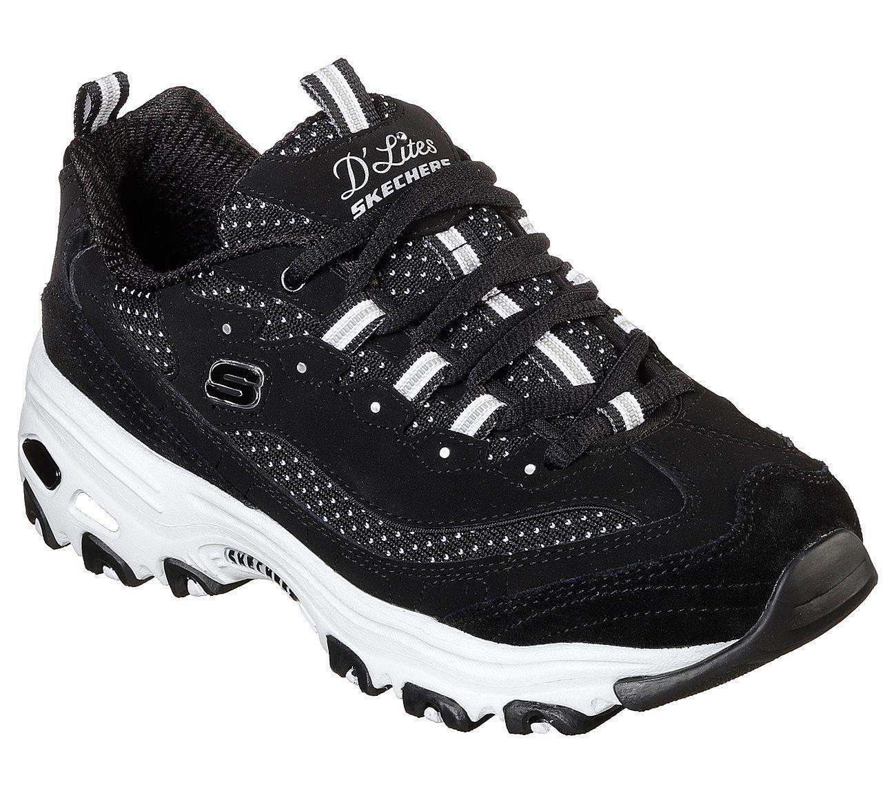 D'Lites Skechers Scarpe Nere Donna Sport Memory Sneaker Stile Casual con Lacci