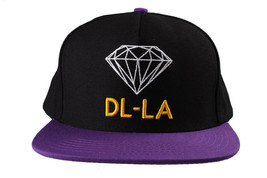 Diamond Supply Co DL-LA Black Yellow Snapback Cotton Hat White Logo Embroidered