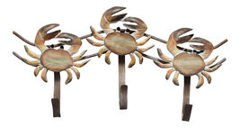 Stone Crab Triple Hooks Wood Carved Wall Decor - $37.76