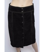 Theory Black Vtg Style 60's Mod 100% Suede Leather Front Snap Skirt 2 S - $166.24