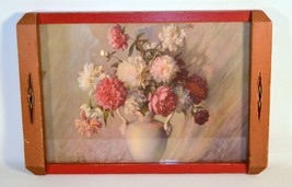 Vintage Mid-Century Art Deco Wood and Clear Glass Tray Trucolor Picture ... - $15.84