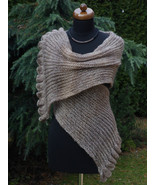 Hand knit Womens Scarf with ruffled edge, camel shawl, womens accessories - $59.00