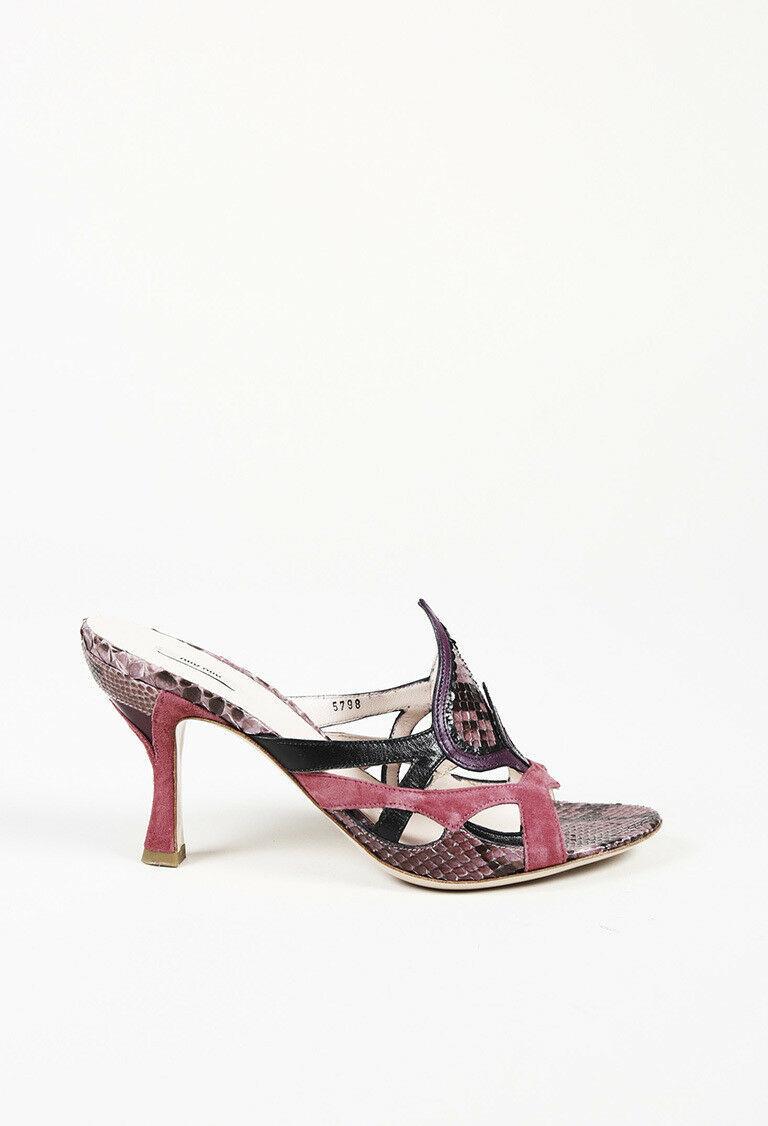 Miu Miu Snakeskin Slide Sandals SZ 38.5