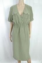 ASOS Olive Green Khaki Modal Wrap Front Military Utilitarian Midi Shirt ... - $18.70