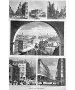 PHILADELPHIA City Scenery Girard College Independence Hall  - 1883 Germa... - $25.20