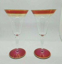 Vintage Tiffin Crystal ruby red stained & gold champagne goblets glasses - $23.76