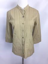 Citron Santa Monica Womens Top Bamboo Blouse Khaki Mandarin Collar Pleat... - $12.95