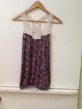 (Small) Forever 21 - Gray Floral Tank Top Racerback - $10.95
