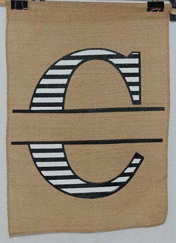 Kate Winston Brand Brown Burlap Monogram Black And White C Garden Flag