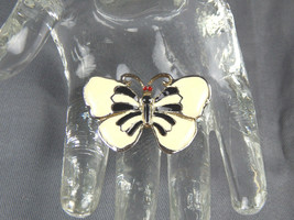 Vintage White and Black Enameled Open Wing Butterfly Brooch Pin - $6.95