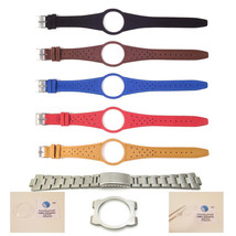 Mens Watch Strap Band For OMEGA DYNAMIC Leather Replacement Silver Buckl... - $24.85