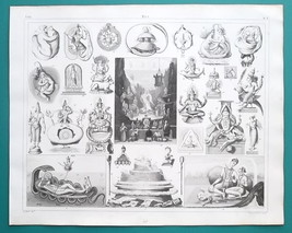 INDIA Mythology Siva Brahma Vishnu Ravana Garuda - 1844 Superb Print - $30.60