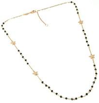 18K ROSE GOLD NECKLACE, FACETED BLACK SPINEL, FLAT STARS, ROLO CHAIN ALTERNATE image 2