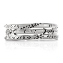 Inspired Silver Inspirational Love Quote Engraved Bangle Bracelet Trio S... - $494,26 MXN