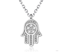 925 Sterling Silver Necklaces for Women CZ Crystal Hamsa Hand Pendant Ne... - $16.00