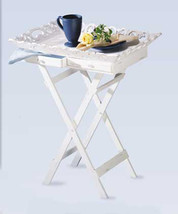 33139B  White Finish Elegant Carved Wood Tray Stand 2 Drawers Folding Legs - $56.75