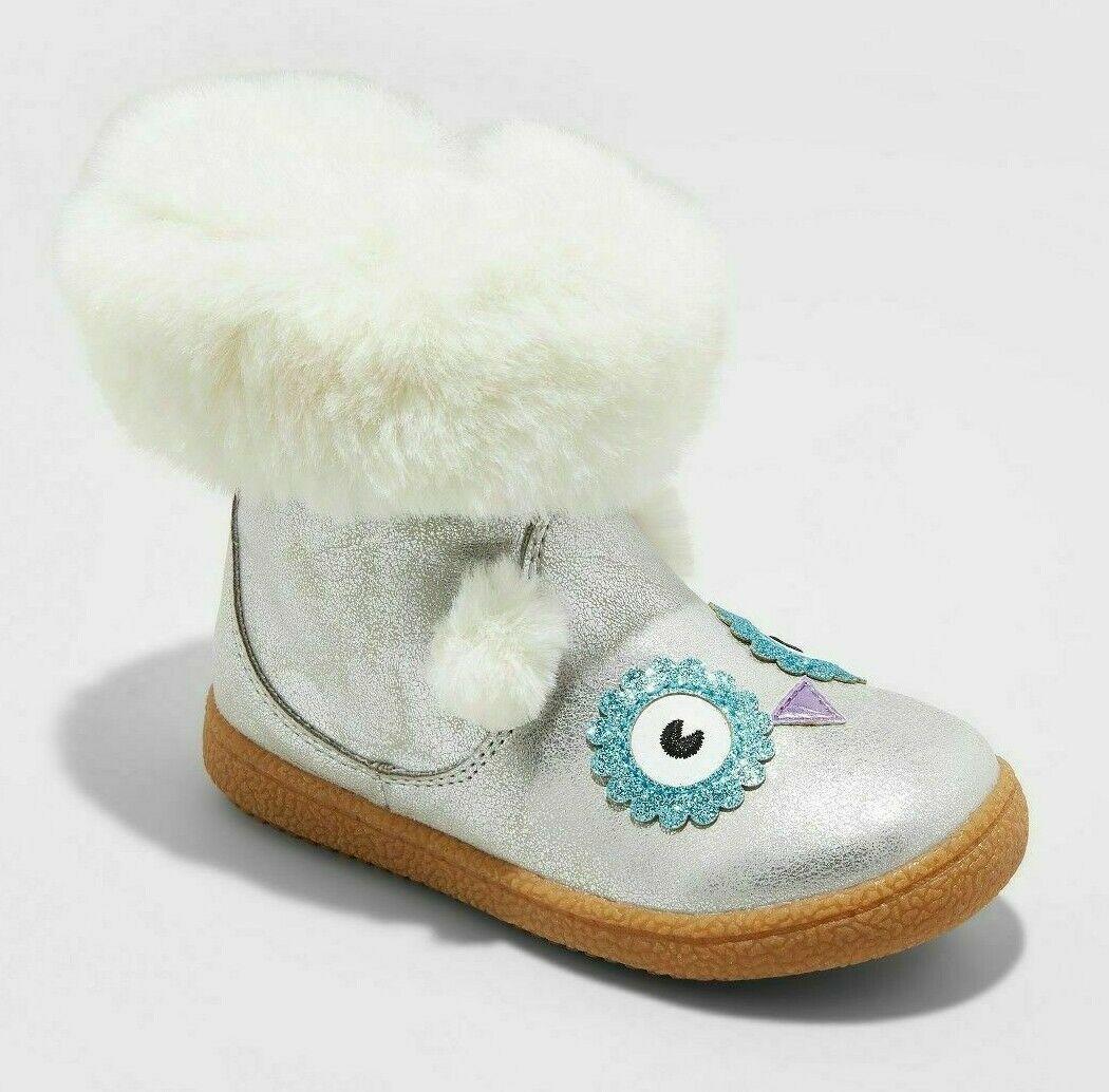Cat & Jack Toddler Girls Tallis Glittery Silver Owl Fashion Boots Faux Fur 10