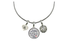 Custom Volleyball Coach Thank You Gift Silver Necklace Jewelry Choose In... - $14.87