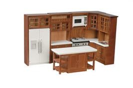 Cabinets Walnut Kitchen set Dollhouse Miniature Modern  w/ Island Microw... - $122.76