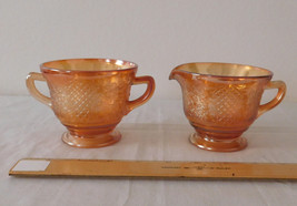 Federal Glass Normandie Bouquet Lattice Sunburst Iridescent, Creamer Sugar Set - $12.99