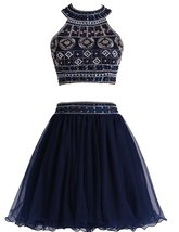 Short A Line Tulle Prom Party Dresses Two Pieces Halter Beaded Homecomig... - $178.00