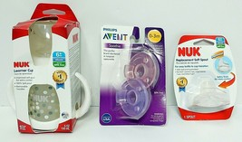 Lot of 3 NUK Learner Soft Grips & Spout Sippy Cup Replacement Spout & Pa... - $13.69