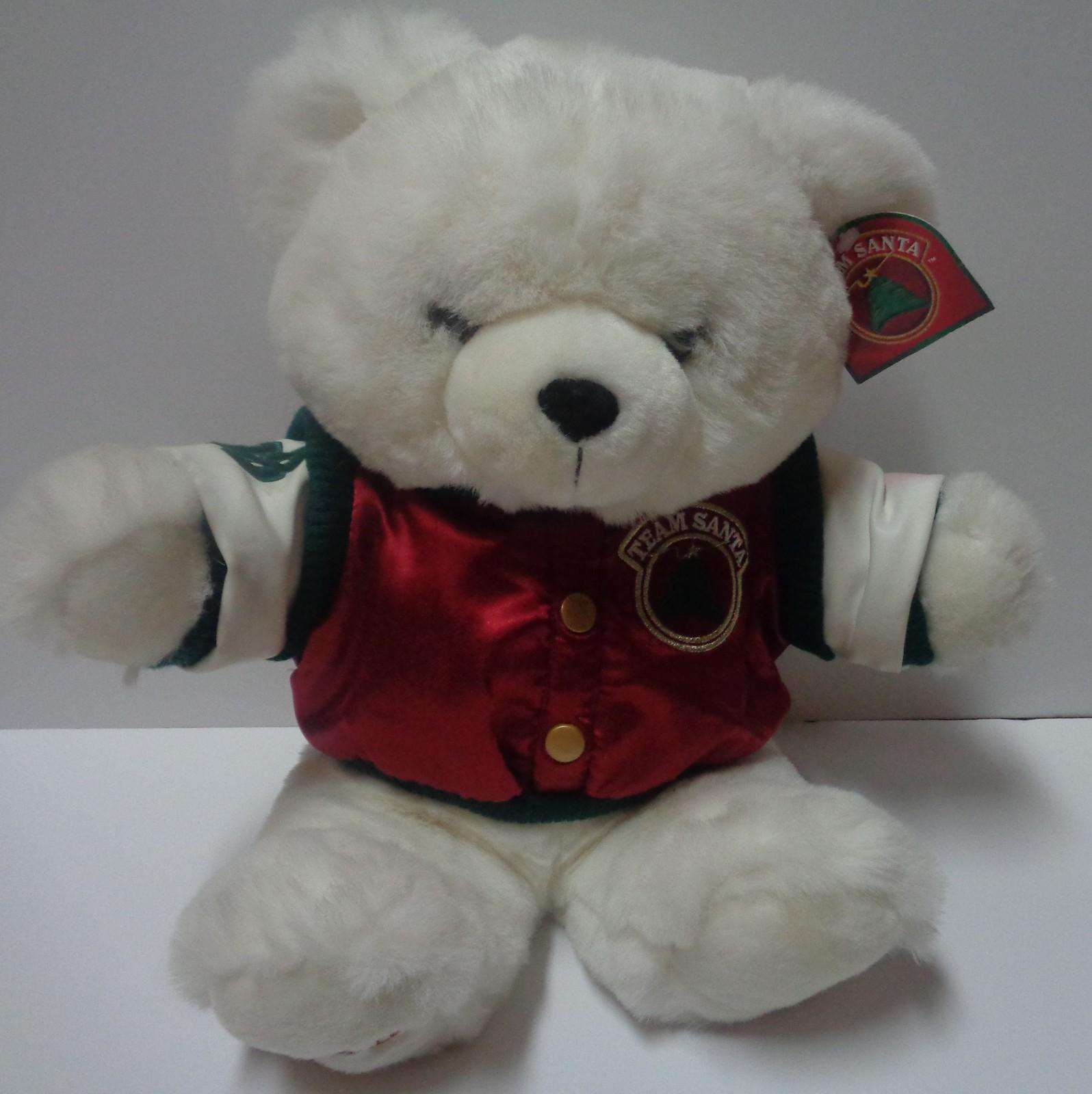 "Christmas Team Santa Teddy Bear 1998 Plush 21"" KMART"