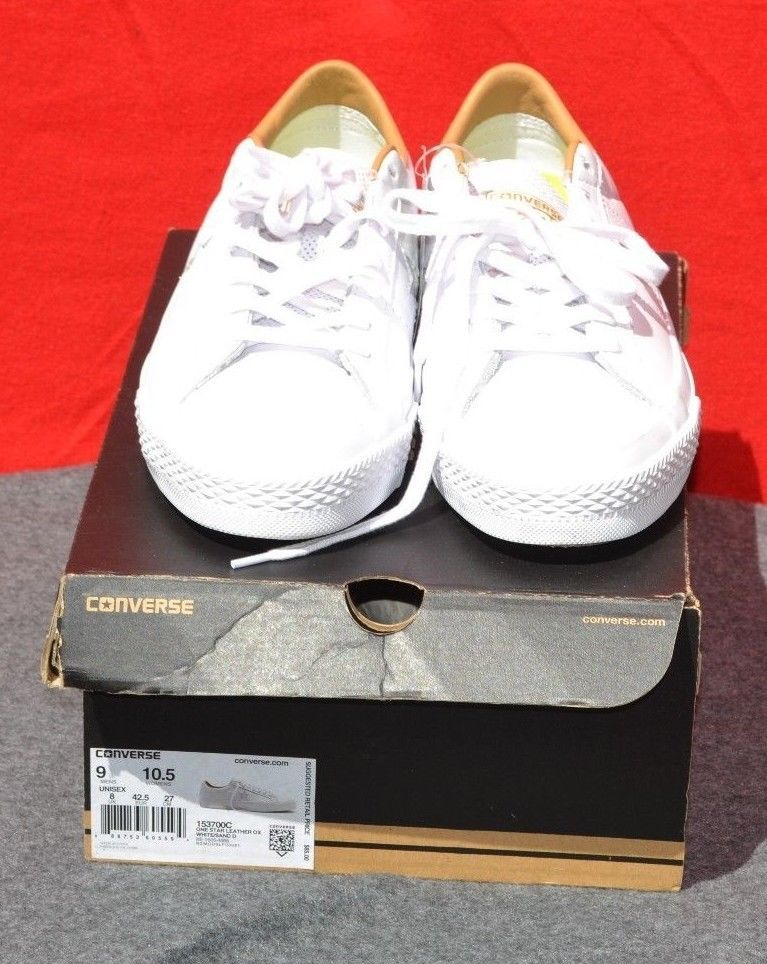 7d2070e9c8e5 CONVERSE Premium Leather OX w  Nike Lunarlon Insole White Shoes Size M 9 W  10.5