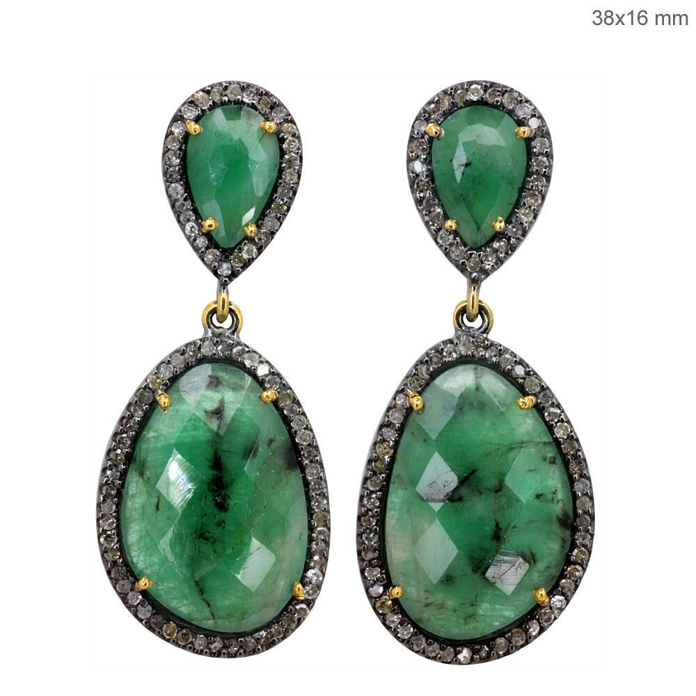 Primary image for Emerald Gemstone Pave Diamond 14 K Gold Dangle Earrings .925 Silver Fine Jewelry