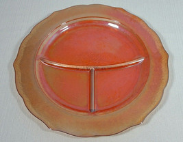 Federal Carnival Glass Normandie Iridescent Round Grill Dinner Plate 3 S... - $19.99