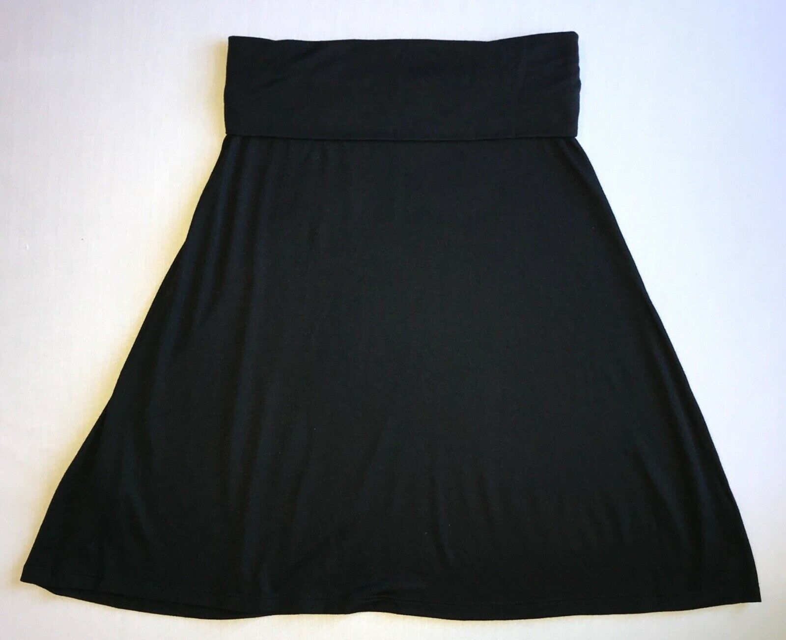 Primary image for Black Jersey Knit Mid Length Flare Skirt with Fold Over Waist in Xtra Small