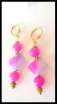 Pink Purple Jade Beaded Gold Plated Earrings - $14.00