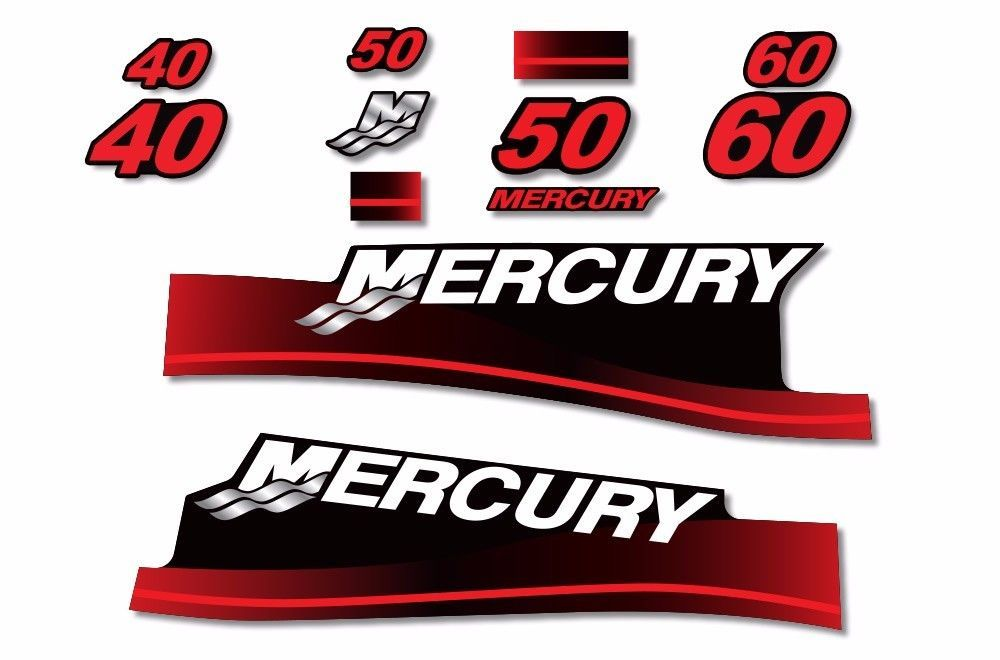 Primary image for Mercury 40 50 60 Sticker Decals Outboard Engine Graphic Kit  Sticker USA MADE R
