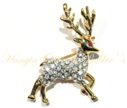 Reindeer Pin Brooch Clear Crystal Goldtone Metal Christmas Holiday - $19.99