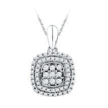 10k White Gold Womens Round Diamond Cluster Double Frame Square Pendant 1/3 - $269.00