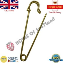 LARGE DURABLE METAL KILT SCARF BROOCH GOLDEN 2 PINS SAFETY KNITTING STIT... - £4.06 GBP