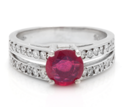 1.60 Carats Red Ruby and Natural Diamond 14K Solid White Gold Ring - $915.75