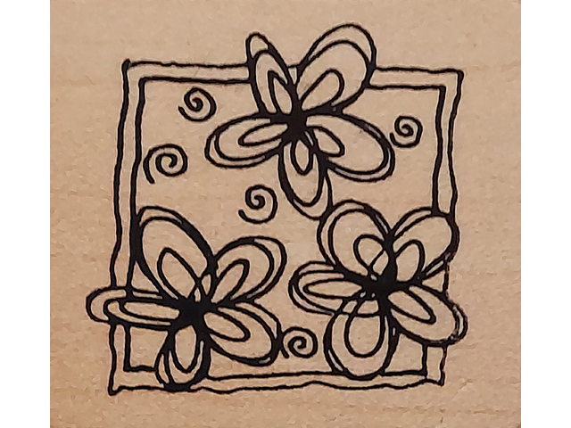 Magenta Floral Wood Mounted Rubber Stamp #23407-F