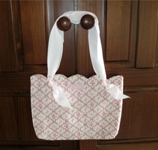 Longaberger Horizon Of Hope Ribbon Pink White Tote Bag Purse NEW With Tag - $14.00