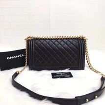 AUTHENTIC NEW CHANEL BLACK QUILTED LAMBSKIN MEDIUM BOY FLAP BAG GHW image 2