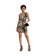 GUESS Women's Sequined Printed Short Sheath Cocktail Dress, Black/Gold, 0 - $44.54