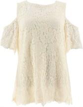 Isaac Mizrahi Floral Lace Cold Shoulder Top Cream M NEW A305243 - $38.59