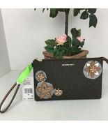 New Michael Kors Flowers Large Wristlet Daniela Brown Flower Applique $1... - $98.95
